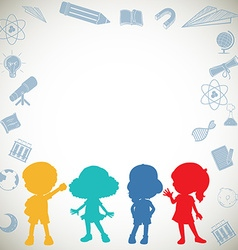 Silhouette children and science symbols vector image