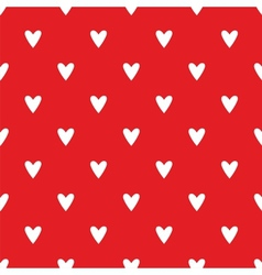 Tile cute pattern white hearts on red background vector image