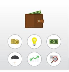 Flat icon gain set of growth billfold greenback vector