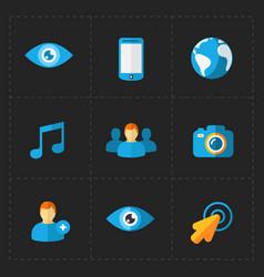 modern flat social icons set on dark vector image vector image