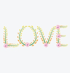 Royal floral word love painted with watercolor vector