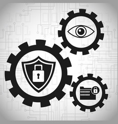 security data system gears concept vector image vector image