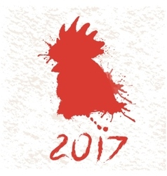 Silhouette of roostermade by paints vector