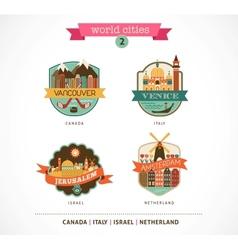 World Cities - Amsterdam Venice Jerusalem vector image vector image