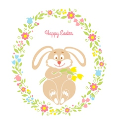Easter bunny card with flowers vector image