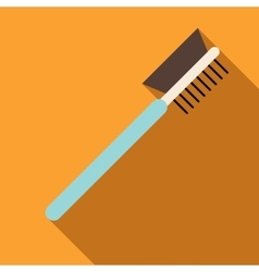 Make up eyebrow comb icon flat style vector image