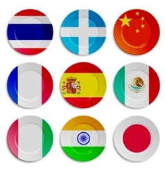 Set of plates with flags isolated on white vector image vector image