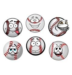 Smiling baseball balls cartoon characters vector image