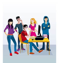 Students with Computer vector image vector image