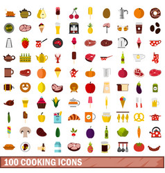 100 cooking icons set flat style vector image