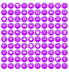 100 location icons set purple vector