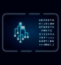 5g chip neon light icon microchip microcircuit vector