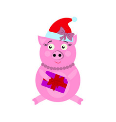 A pig with present new year icons in color vector