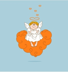 Angel in love sits on cloud vector