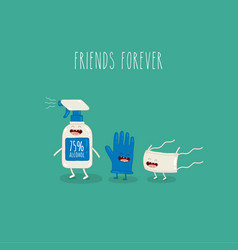 Antiseptic glove mask friends forever vector