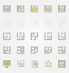 Apartment plan colorful icons vector