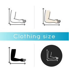 Arm length icon linear black and rgb color styles vector