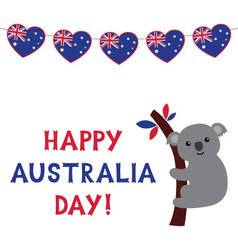 Australia day card with a koala and bunting hearts vector