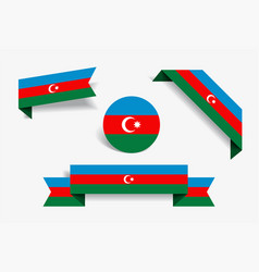 Azerbaijani flag stickers and labels vector