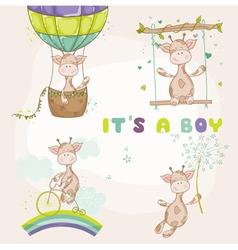 Baby giraffe set - shower or arrival card vector