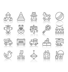 baby toy simple black line icons set vector image