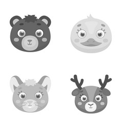 Bear duck mouse deer animal s muzzle set vector