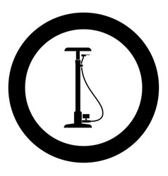 Bicycle pump black icon in circle vector