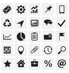 business simple icons set on squares background vector image