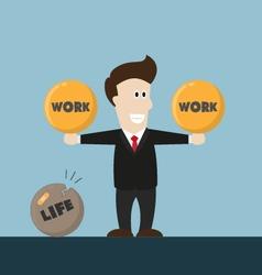 Businessman life is not balance vector