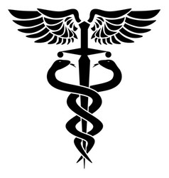 Caduceus medical symbol two snakes sword vector