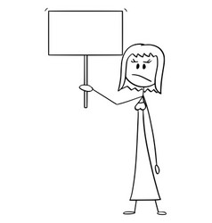Cartoon angry woman or businesswoman holding vector
