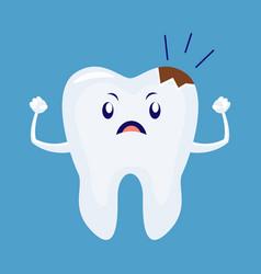 cartoon sick unhappy tooth vector image