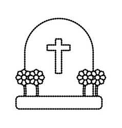 Cemetery tombstone isolated vector