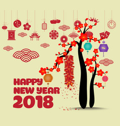 Chinese new year with blossom and firecracker vector