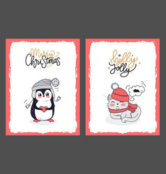 Christmas cards with penguin and holly jolly kitty vector
