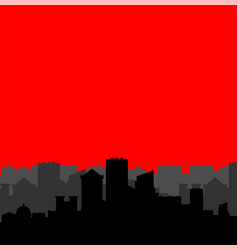 city silhouette and red background megapolis vector image
