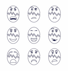 Collection various cracked egg expressions vector