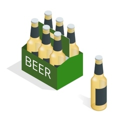 Color isometric icon with case beer vector