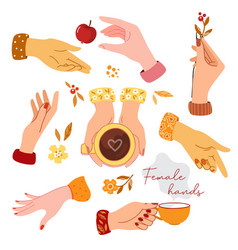 Colorful female hands collection in eps10 vector