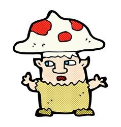 Comic cartoon little mushroom man vector