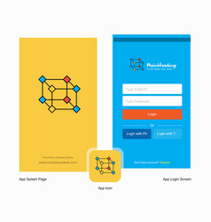 Company cube splash screen and login page design vector