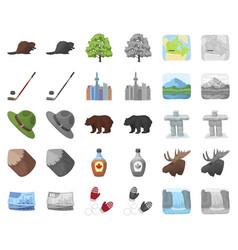 Country canada cartoonmonochrom icons in set vector