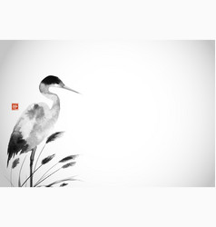 Crane and leaves grass in fog traditional vector