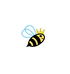 creative cute little flying bee queen logo vector image