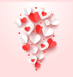 cut paper hearts fly valentine day greeting card vector image