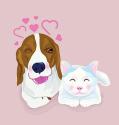 cute beagle dog hug a cat both express shy emotion vector image