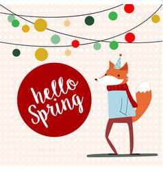 cute cartoon fox in spring time vector image