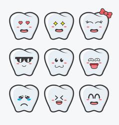 Cute white tooth mascot design set vector