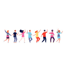 Dancers adult people jumping and dancing in line vector
