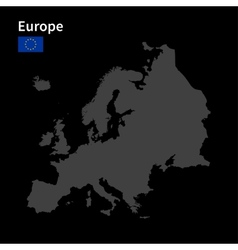 detailed map europe with flag on black vector image